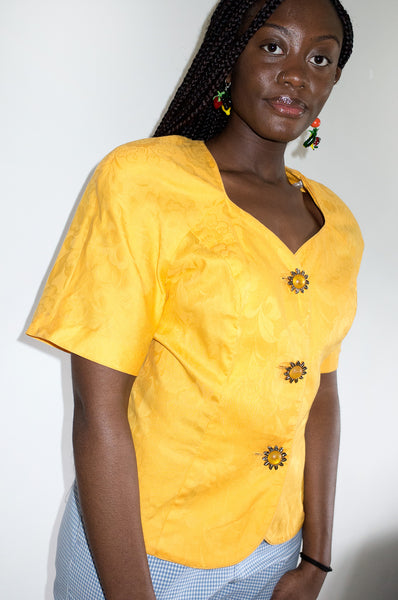 Vintage 1980s bright yellow trophy jacket by Leslie Fay