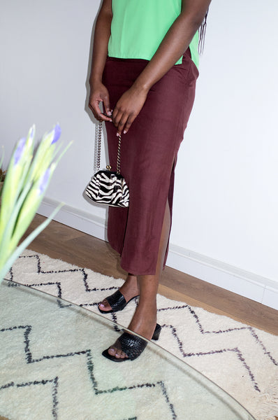 Vintage 1990s chocolate brown midi skirt with deep side slits at hem