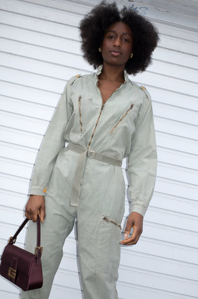 Vintage 1980s khaki flight suit in a rare smaller size