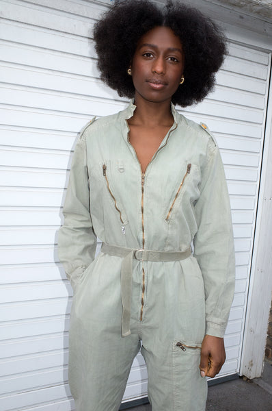 Vintage 1980s khaki flight suit in a rare smaller size by Rocci