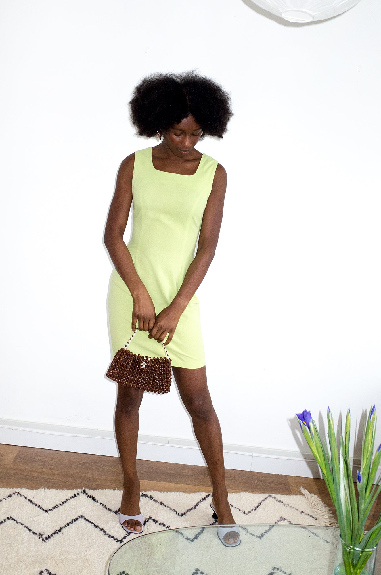 Simple vintage 1990s lime-green sleeveless shift dress