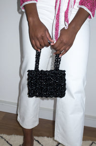 Vintage 1990s black beaded small handbag