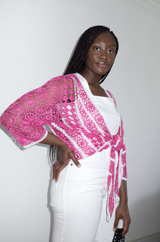 Vintage Y2K pink and white crochet cardigan.