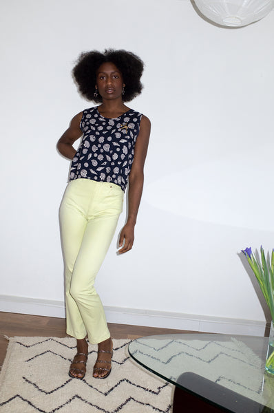 Vintage Y2K lime green jeans by Escada
