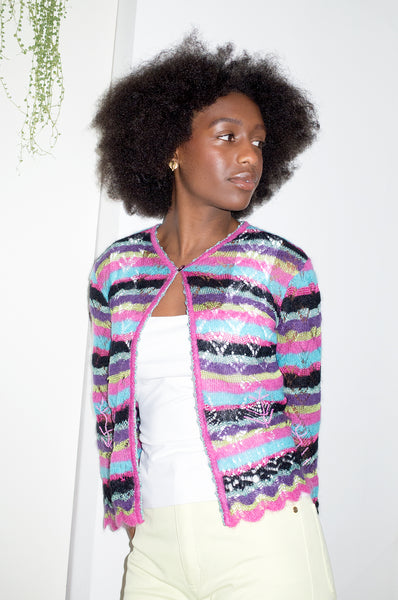 Multicoloured mohair cardigan by By Christian Lacroix Bazaar