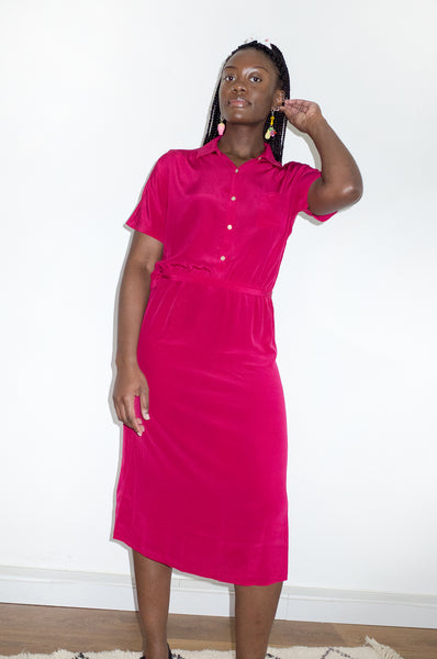 Vintage 1980s magenta shirt-waist midi dress by Diane Von Furstenburg