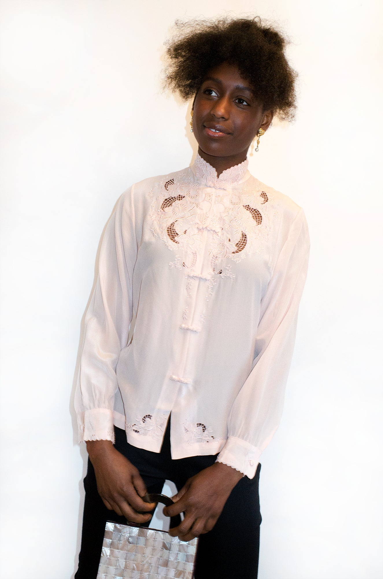 Beautiful vintage pale pink hand-embroidered blouse