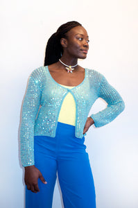 Vintage Y2K aqua blue cardigan with iridescent sequins