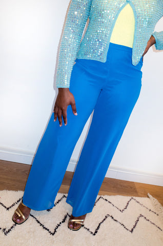 Vintage Y2K cobalt blue wide-leg trousers by Gina Bacconi