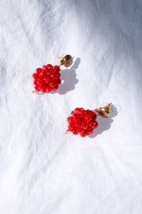 Vintage 1980s red and gold beaded earrings