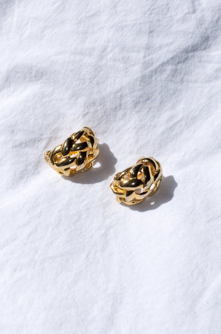 Vintage 1980s gold braid-link earrings