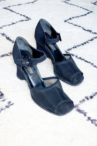 Vintage 1990s black fabric and mesh sandals with wedge heel