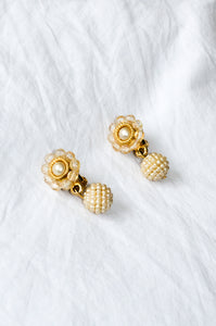 Vintage 1980s gold-tone earrings with tiny plastic pearls and crystal beads