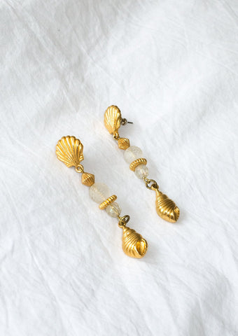 Vintage 1990s gold-tone and plastic beaded shell earrings