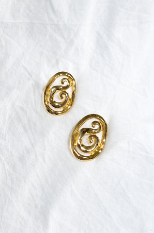 Vintage 1980s hammered gold-tone earrings