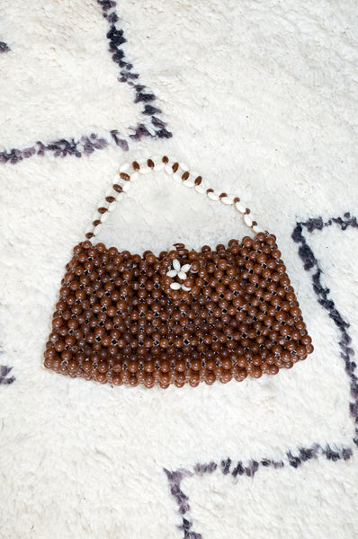 Vintage 1960s brown and white beaded handbag with top handles