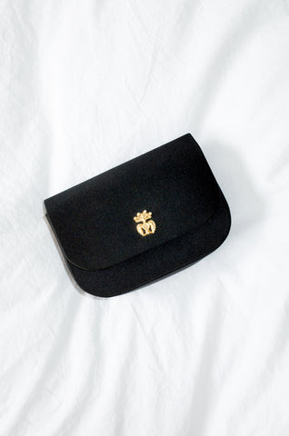 Vintage tiny black designer satin shoulder bag by Guy Laroche
