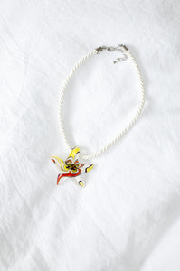 Murano glass starfish pendant choker on white twisted cord