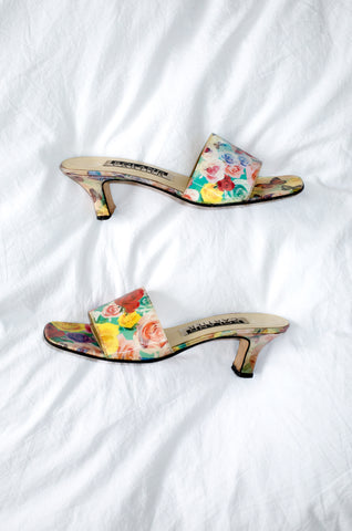 Vintage 1990s Roland Cartier multicoloured lenticular mules with dual butterfly and rose-print effects