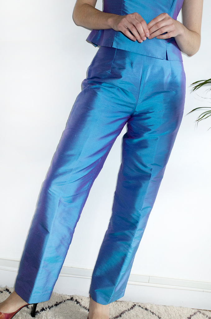 Iridescent Blue Silk Party Suit S M Human Sea