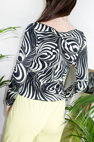 Vintage 1990s black and white psychedelic swirl-print top with sweetheart neckline and long sleeves