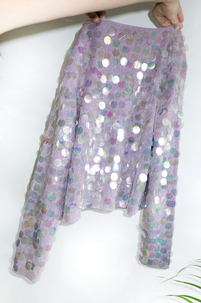 Vintage 1990s metallic lilac twin-set, consisting of a sequinned cardigan and a tank top