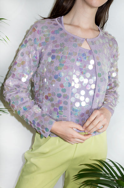 Vintage 1990s metallic lilac twin-set, consisting of a sequinned cardigan and a tank top.
