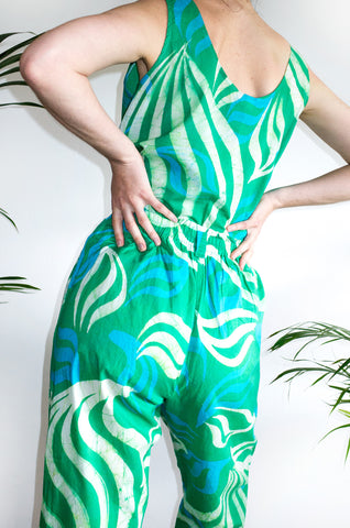Eye-catching vintage green swirl Batik two-piece set, ideal for the beach or lounging around the house.