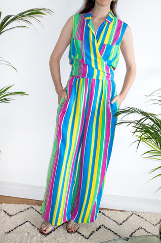 A fun vintage multicoloured striped three-piece beach set by Mondi