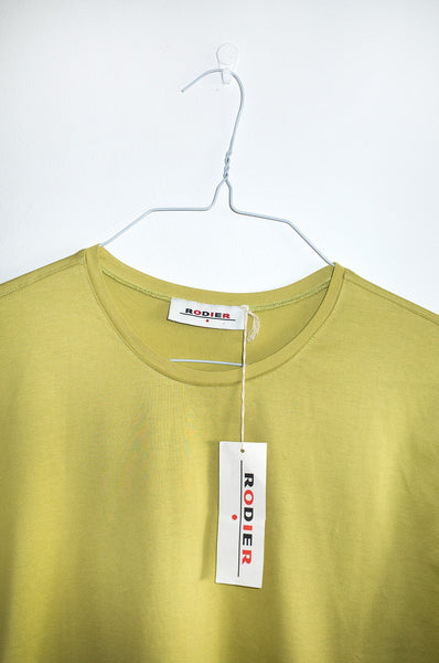Vintage light olive-green short-sleeve T-shirt by Rodier. In unworn condition with original tags attached.