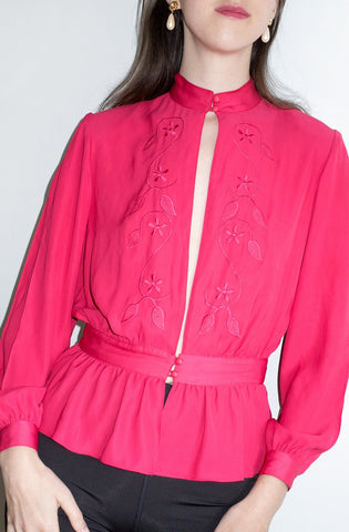 Vintage 1980s fuchsia-pink open-front blouse or lightweight evening jacket.
