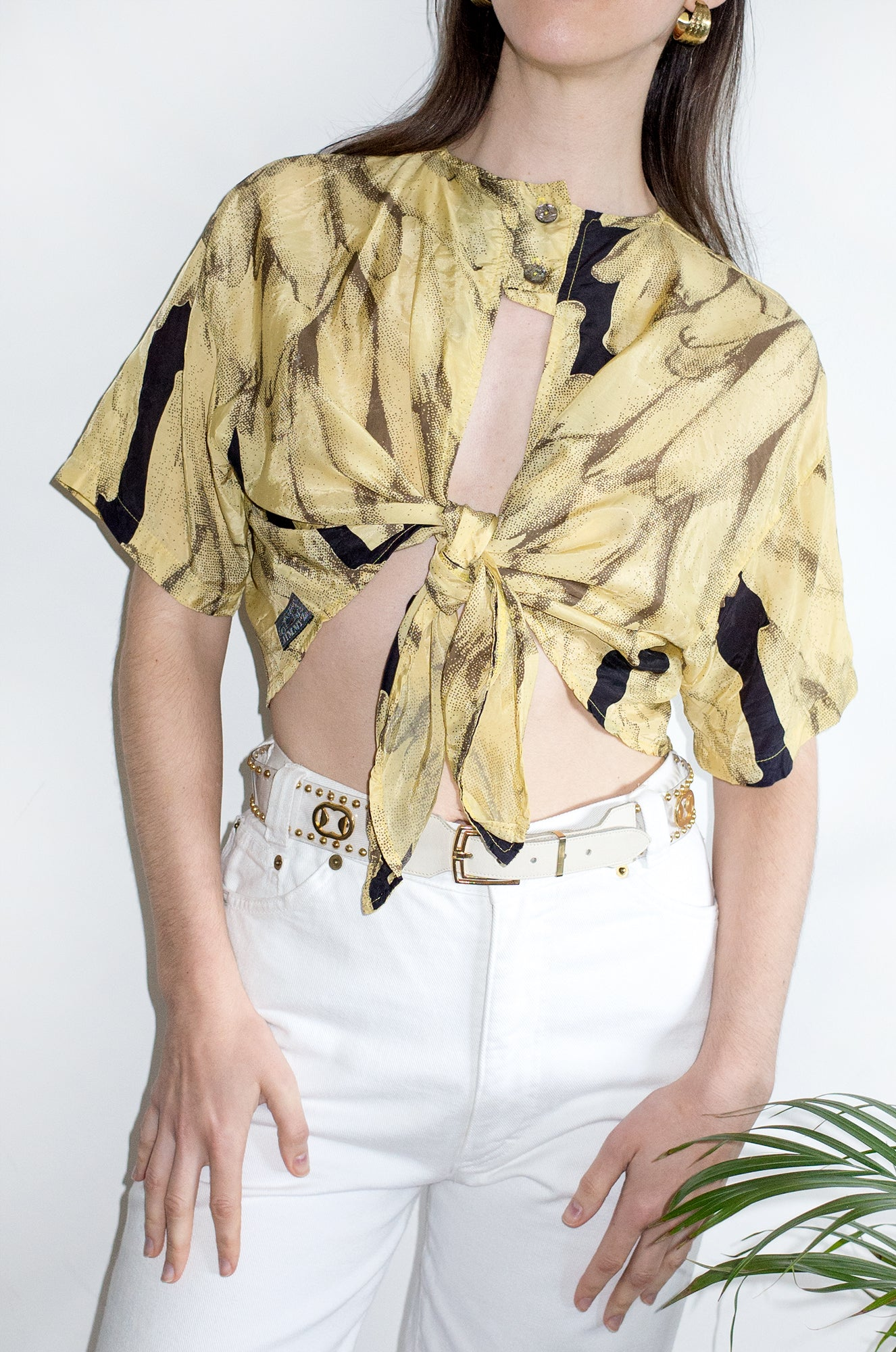 Vintage 1990s fun banana-print cropped tie-front top.