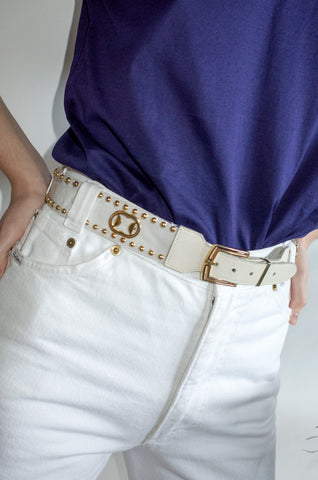 Vintage embellished vinyl and white leather waist belt.