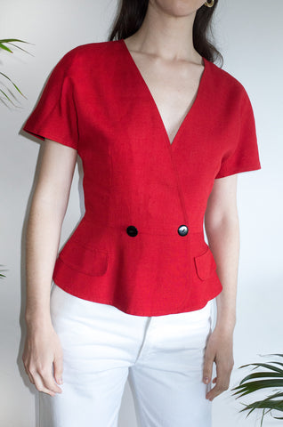 Elegant vintage 1980s red short-sleeved jacket with wrap front.