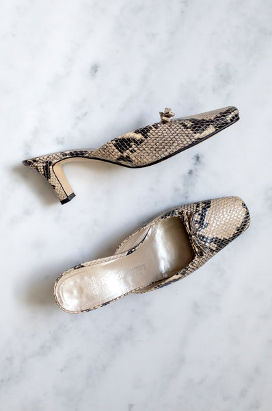 Russell and Bromley vintage Y2K snakeskin closed-toe mules with bow detail and block heel