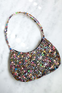 Vintage Y2K multicoloured beaded shoulder bag with black satin reverse.