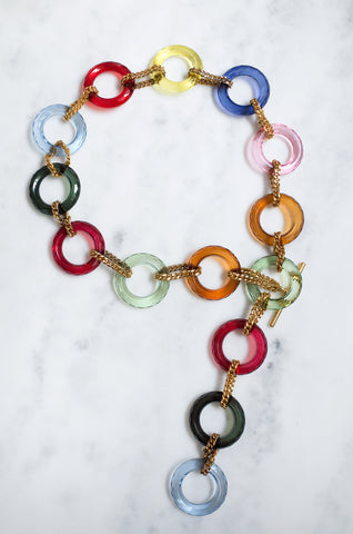 Candy-coloured ring-detailed chain belt