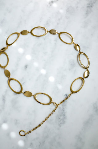 Vintage gold tone oval chain belt
