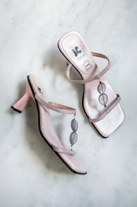 A pair of unusual vintage 1990s lilac mules with beaded T-strap.