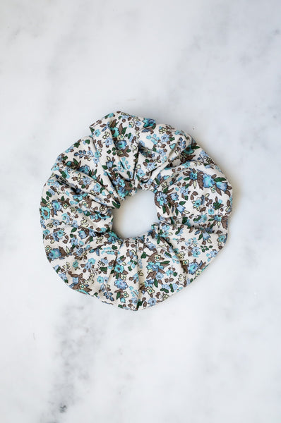 Large elasticated upcycled vintage cotton scrunchies (blue)
