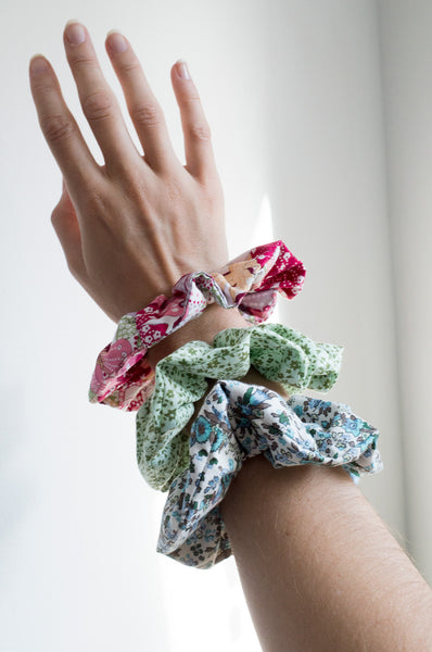 Large elasticated upcycled vintage cotton scrunchies.