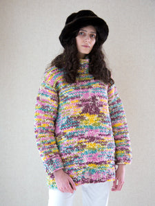 Vintage 1990s multi-coloured hand-knitted ombré chunky funnel-neck jumper