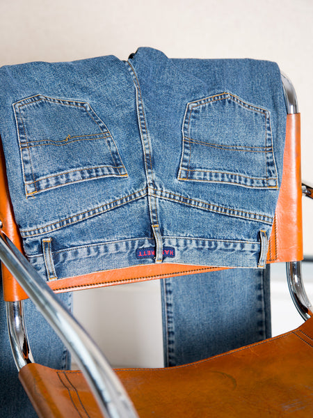 Vintage early 1990s blue straight-leg jeans by Katharine Hamnett