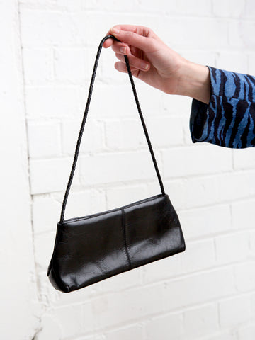 Vintage 1990s black leather micro shoulder bag