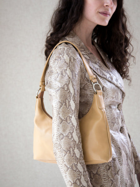 BEIGE VEGAN LEATHER SHOULDER BAG