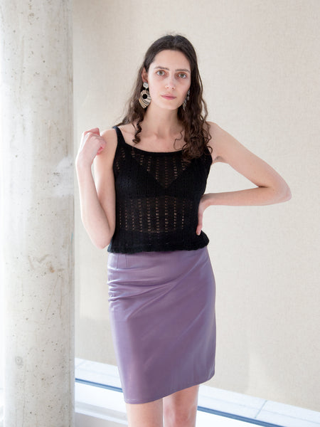 PURPLE UNGARO LEATHER SKIRT (XS-S)