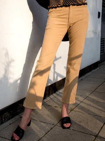 Vintage 1990s camel needlecord straight-leg trousers by Versace Jeans Couture