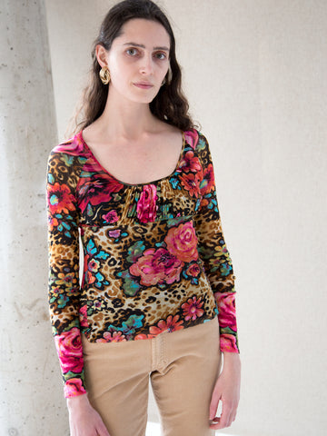 Vintage multi-coloured leopard print and floral sheer top by Kenzo Jeans