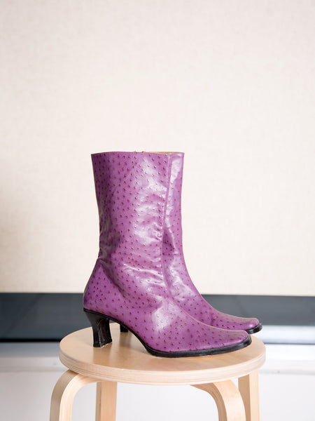 A pair of unworn vintage 1990s purple ostrich-print leather ankle boots