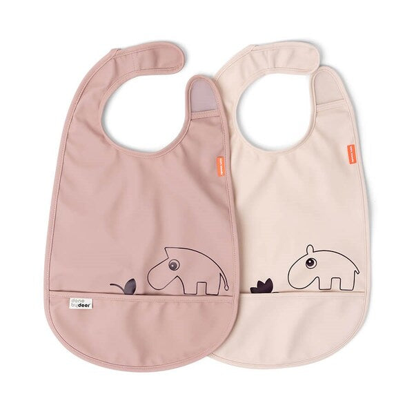 Set de 2 Baberos con velcro Deer friends Rosa Done by Deer